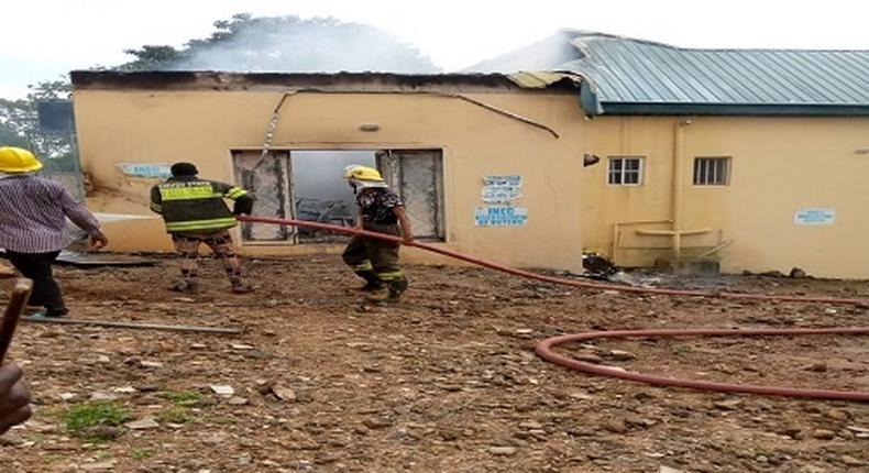 Arsonists set INEC office ablaze in Enugu State (TheNation)
