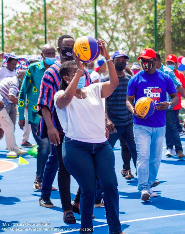 Ursula commissions basketball court in Dansoman