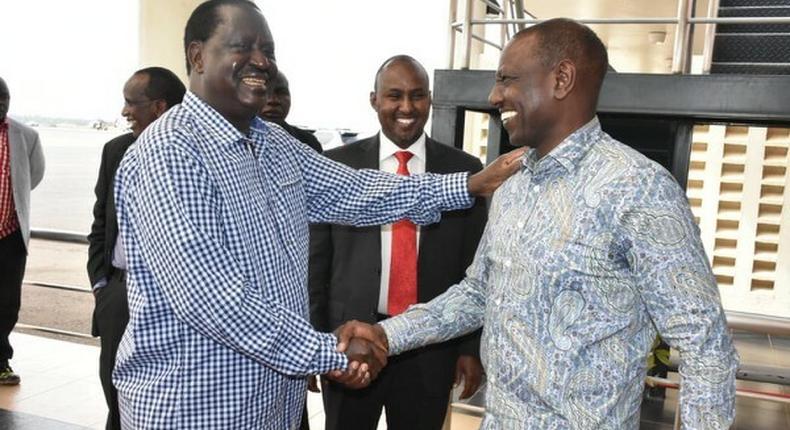 File image of DP Ruto with Raila Odinga