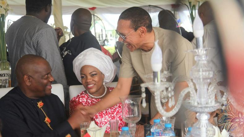 Rivers State Governor, Nyesom Ezenwo Wike, his wife,  Justice Suzzette Nyesom-Wike and Senator Ben Bruce-Murray at the reception of the Thanksgiving Service to mark the governor's Supreme Court victory on Sunday at Saint Peter's Anglican Church, Rumuipirikom, Port Harcourt