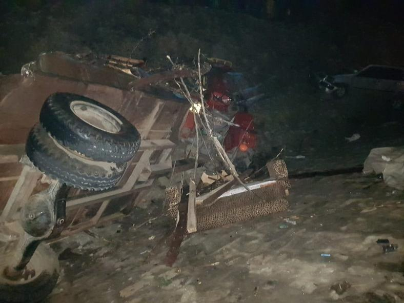 Wreckage at the scene of the Accident