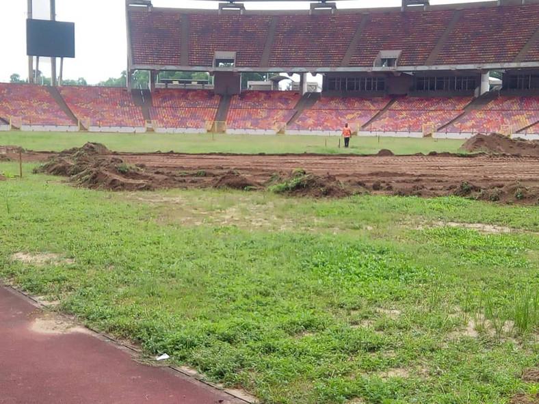 Renovation work commences at Moshood Abiola Stadium.
