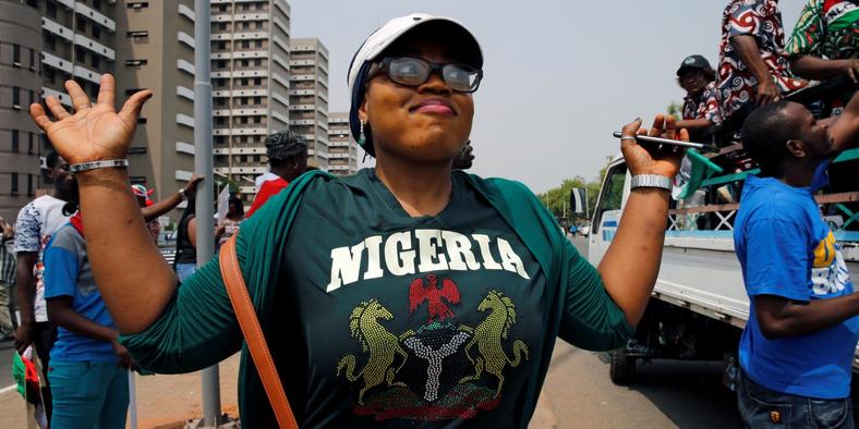 A Nigerian celebrating (brandspurng)