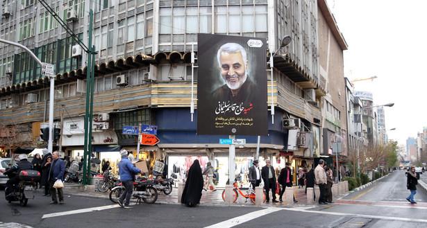 Iran, plakat po śmierci generała Sulejmaniego