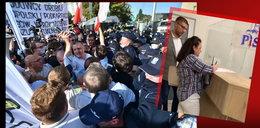 Gorąco na Nowogrodzkiej! Przepychanki z policją, Renata Beger penetrowała siedzibę PiS