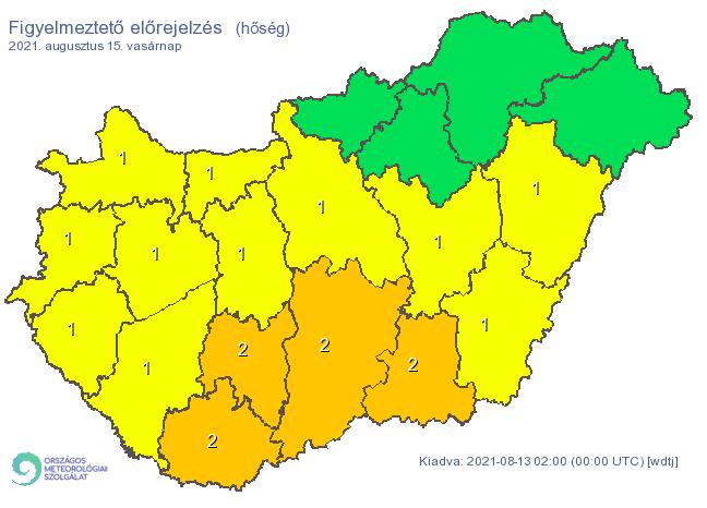 Hőség miatt már másodfokú riasztás is érvényben lesz vasárnap / Fotó: met.hu