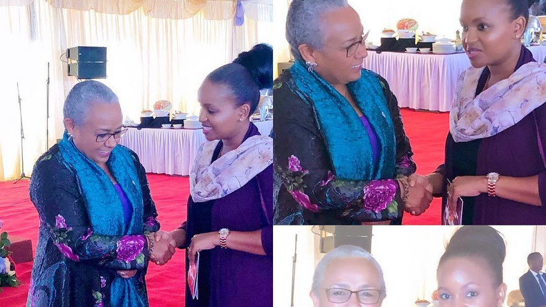 Grace Mslame with Margret Kenyatta. Grace Msalame speaks after surgery