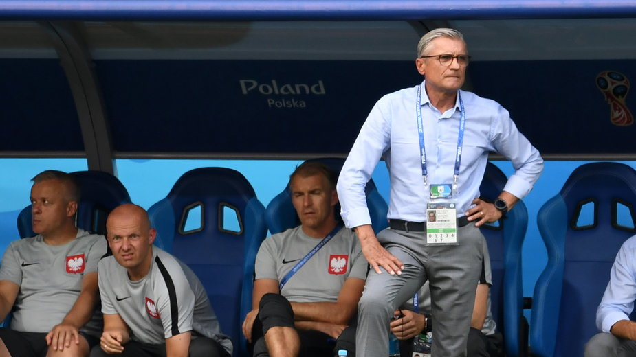 Trener Adam Nawałka i ławka reprezentacji Polski