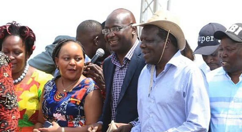 Governors Anne Waiguru (Kirinyaga), Wycliffe Wangamati (Bungoma) and Wycliffe Oparanya (Kakamega) during a past BBI rally in Kakamega