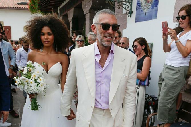 Tina Kunaki i Vensan Kasel 2018. na venčanju u Bidaru u Francuskoj