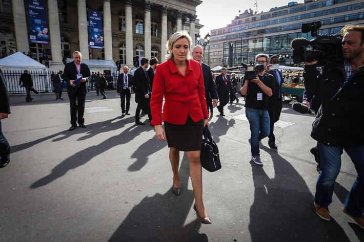 Marine Le Pen Visits ''Planet PME'' in Paris