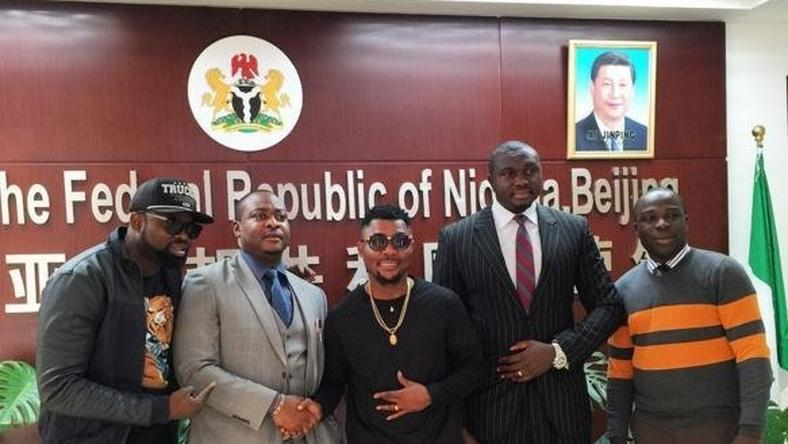 Oritsefemi at the Nigerian Embassy in China during his tour in the city.