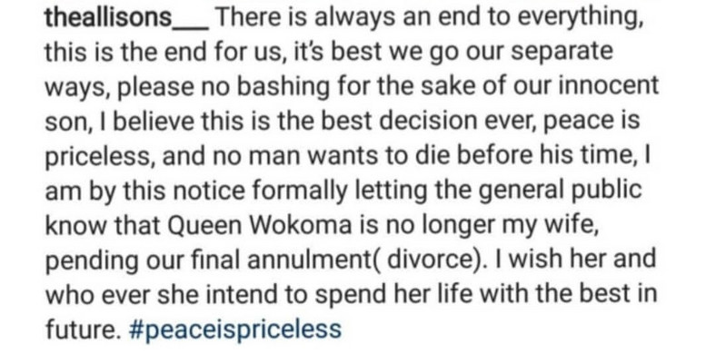 According to him, the union between them has come to an end and they would love for the public to respect their decision and that of their son [LindaIkeji]