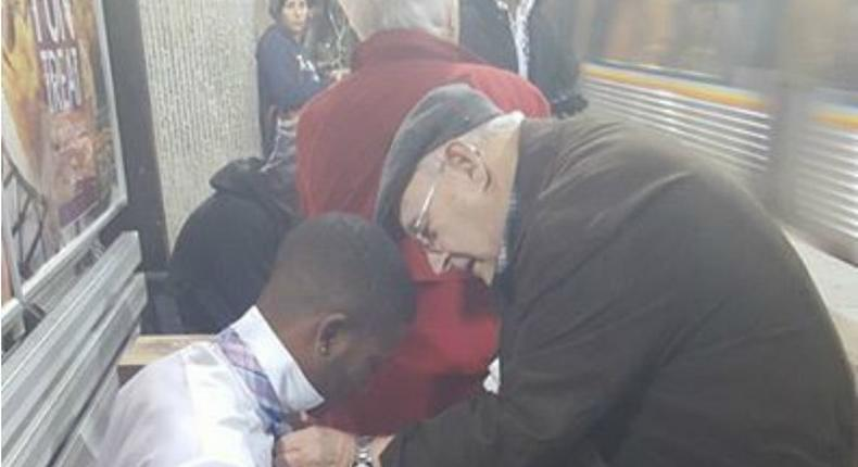 Viral picture of elderly couple helping young man with his tie would make you cry