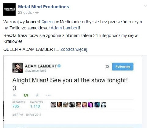 Queen i Adam Lambert - screen z Facebooka Metal Mind Productions