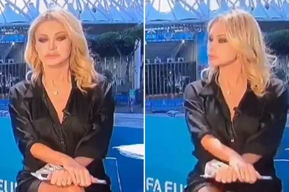 """NISKE STRASTI"" UŽIVO na italijanskoj televiziji! Voditeljka ""odigrala"" Šeron Stoun pred milionima: ""Čini mi se da se VAR koristi više nego na terenima!"" /VIDEO/"