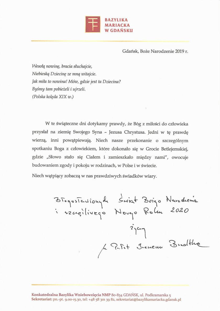 życzenia księdza Ireneusza Bradtke