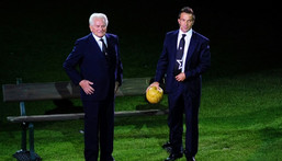 Giampiero Boniperti won five league titles and was Juve's record marksman until Alessandro Del Piero -- seen with him at the 2011 opening of the Juventus Stadium -- overtook his mark in 2010 Creator: Giuseppe CACACE