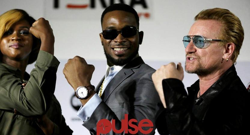 Waje, D'banj and Bono at ONE campaign press conference in Lagos.