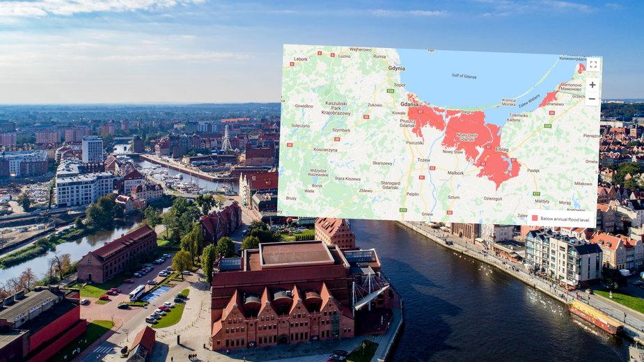 Gdańsk i 50 innych miast na świecie może zniknąć pod wodą (fot. Climate Central)