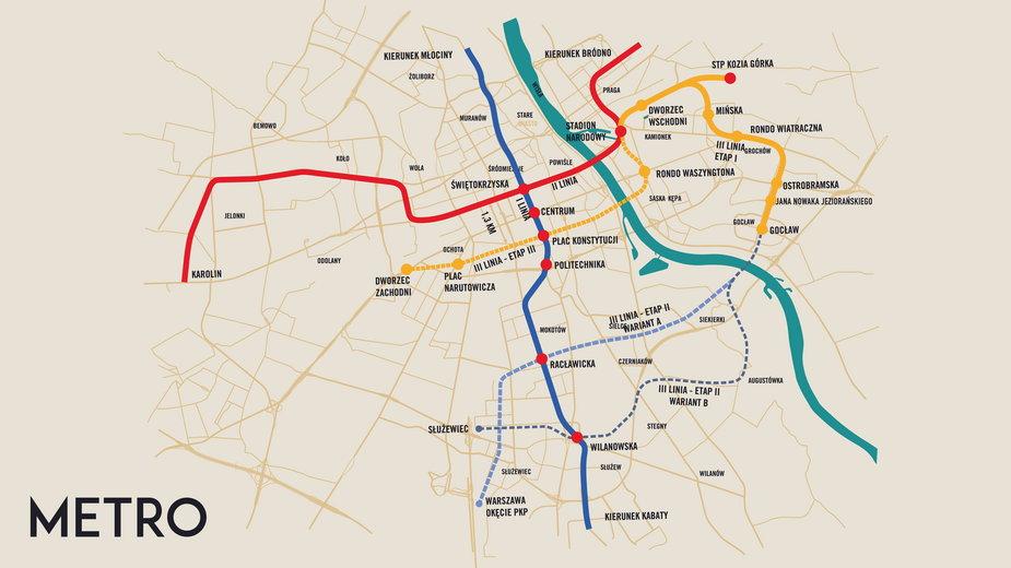 Planowany przebieg kolejnych odcinków metra przedstawiony przez Rafała Trzaskowskiego