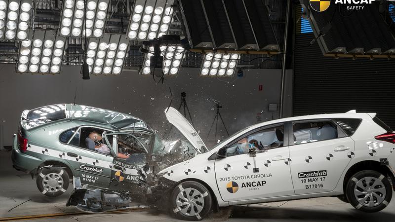 Test ANCAP: dwie Toyoty w zderzeniu czołowym