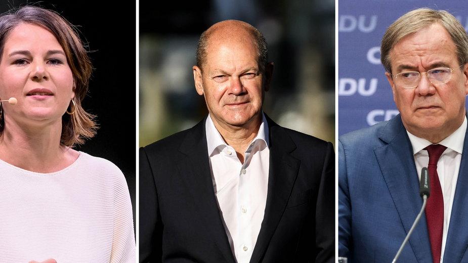 Kto przejmie władzę w Niemczech? Na zdjęciu Annalena Baerbock, Olaf Scholz i Armin Laschet