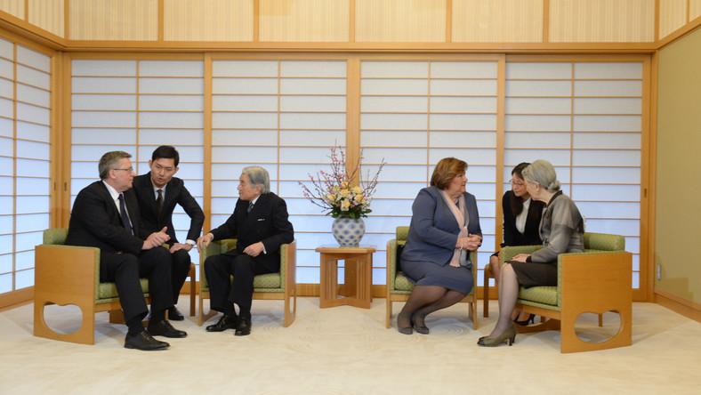 Para prezydencka przyjmowana na audiencji przez cesarza Akihito i cesarzową Japonii - Michiko.