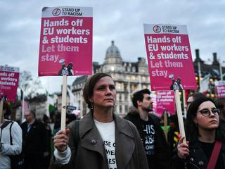 EU citizens protest outside parliament as parliament votes on final Brexit Bill