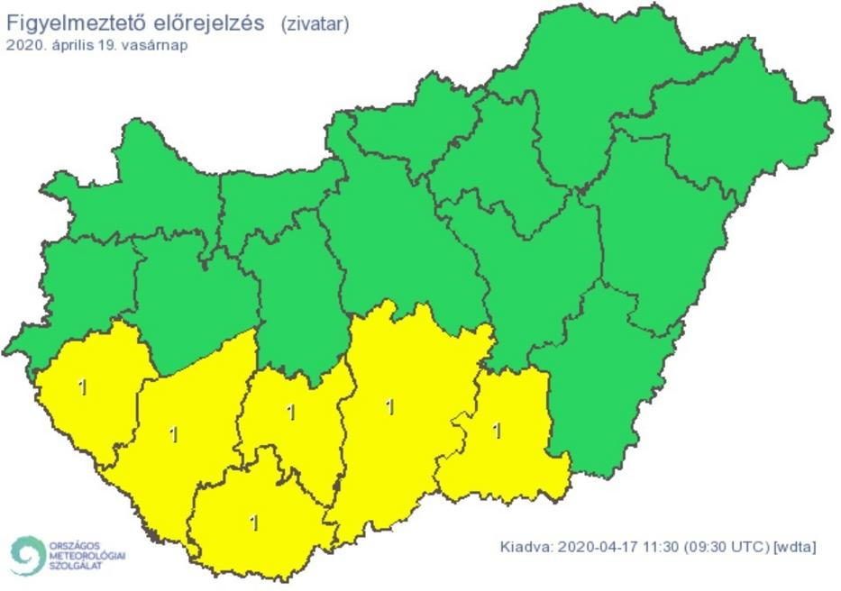 Vasárnap az ország déli megyéiben jégeső, villámlás jöhet / Forrás: Met.hu