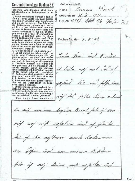 Niezwykły dokument: list Romana Durka z Dachau do żony
