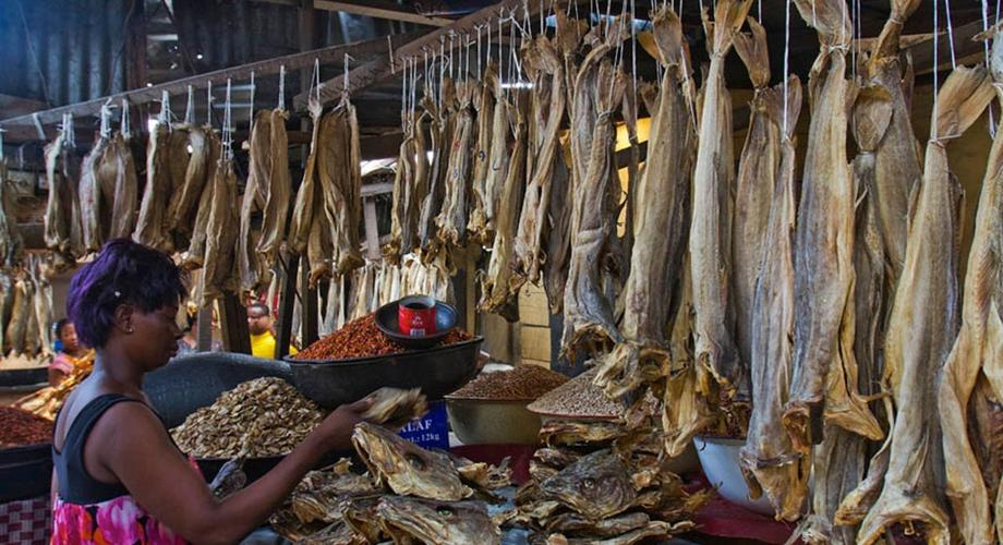 Stockfish seller in Oyingbo market, Lagos (Vanguard)