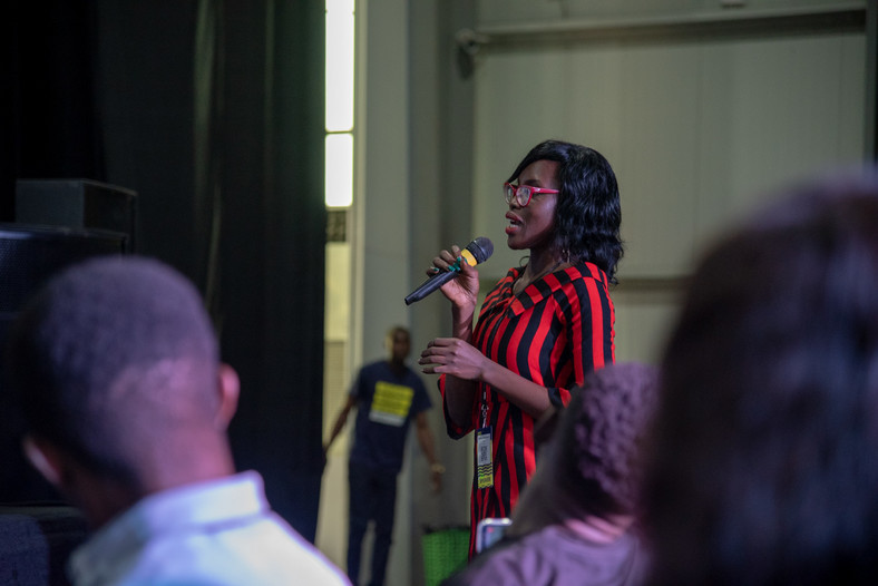 A participant asking question at the Business Insider By Pulse session at Social Media Week Lagos 2019