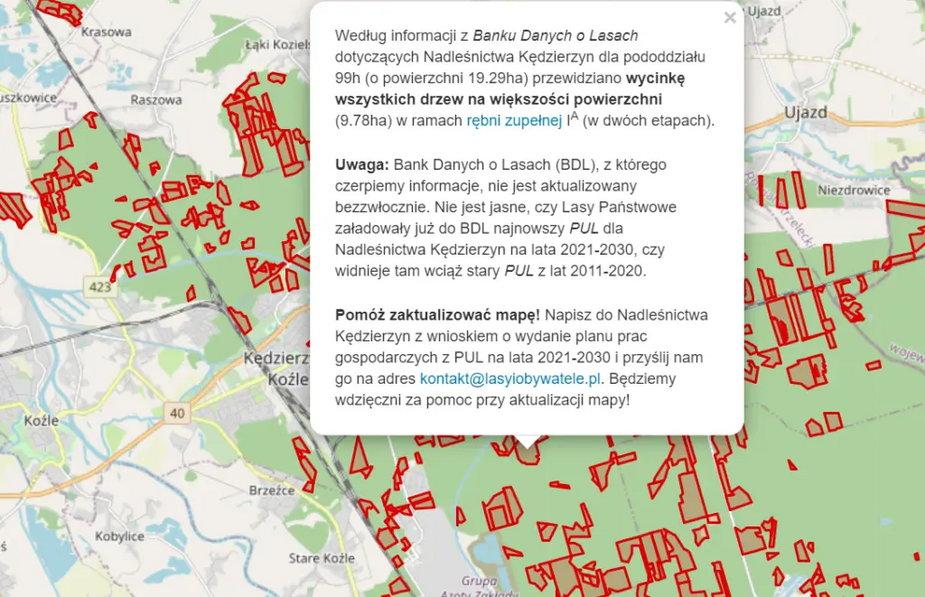 Można odszukać szczegółowe dane dotyczące planowanej wycinki