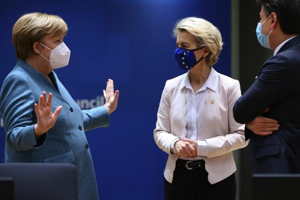Kanclerz Niemiec Angela Merkel, szefowa KE Ursula Von der Leyen i premier Włoch Giuseppe Conte w czasie szczytu UE w Brukseli. 10.12.2020