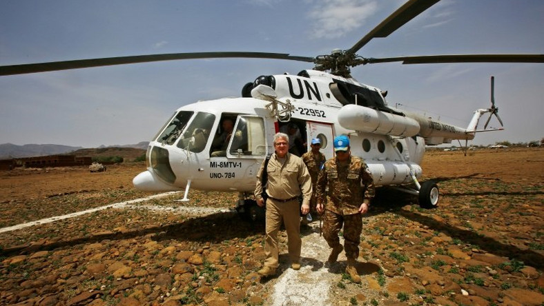 Steven Koutsis (L), the US envoy in Sudan, visited Darfur in June to assess security in the war-torn region