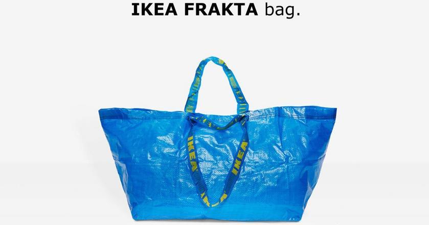 Po lewej torba Balenciagi, po prawej Ikei