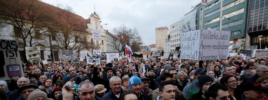 Rally in reaction to the murder of Slovak investigative reporter Jan Kuciak is held in Bratislava