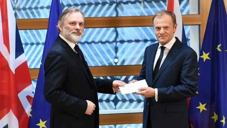 Britain's ambassador to the EU Tim Barrow handed the letter formally triggering Brexit to EU President Donald Tusk in Brussels