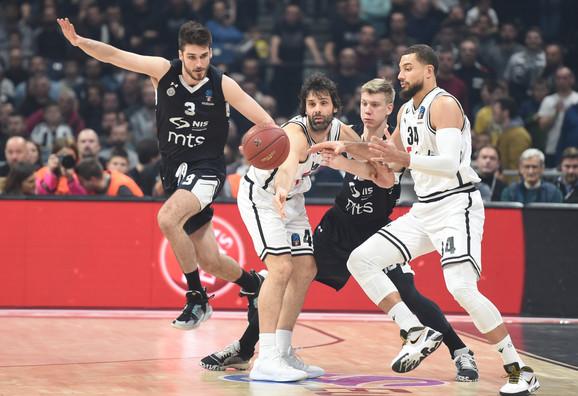 Detalj sa meča Evrokupa između KK Partizan i Virtusa iz Bolonje