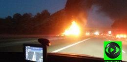 Auta spłonęły na A4. Ranni trafili do szpitala