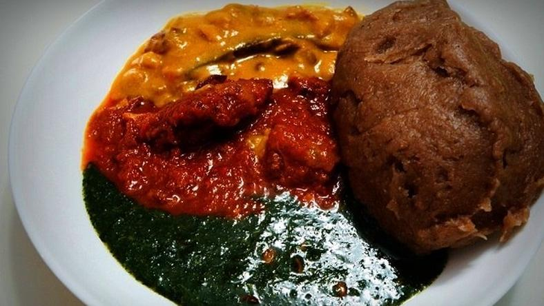 A plate of amala and ewedu soup