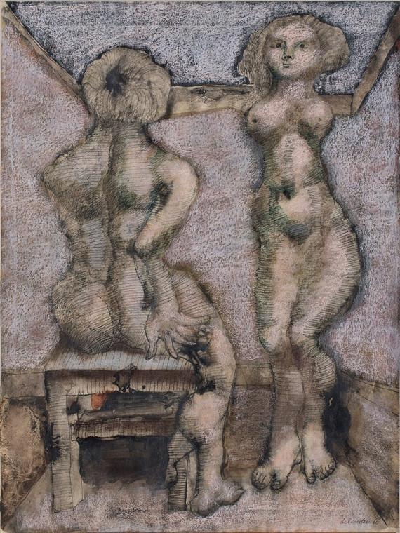 Oddający zwierzęcą naturę człowieka obraz Jana Lebensteina z 1966 r., który licytowany będzie od 30 000 zł. Fot. Piękna Gallery