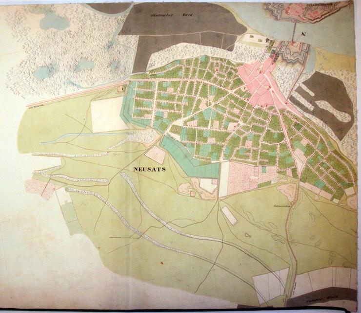 mapa novog sada sa okolinom Mape Novog Sada i okoline iz 18. i 19. veka mapa novog sada sa okolinom