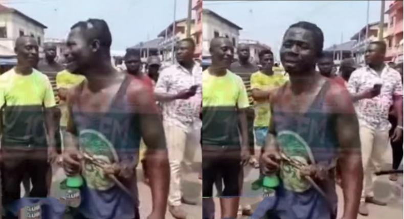 Takoradi residents arrest another 'thief', buy him beer after making him clean gutters