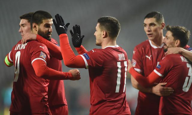 Slavlje naših reprezentativaca na meču Srbija - Rusija