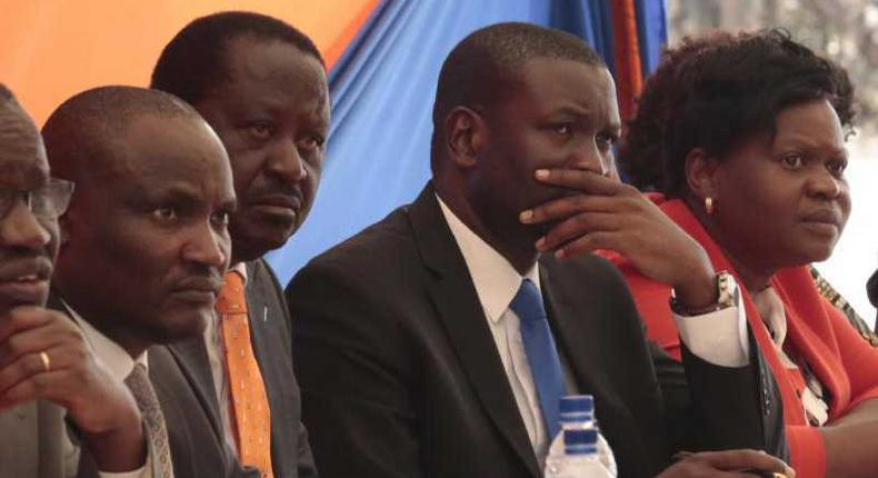 File image of ODM leader Raila Odinga with Edwin Sifuna and other party leaders from Hmabay County