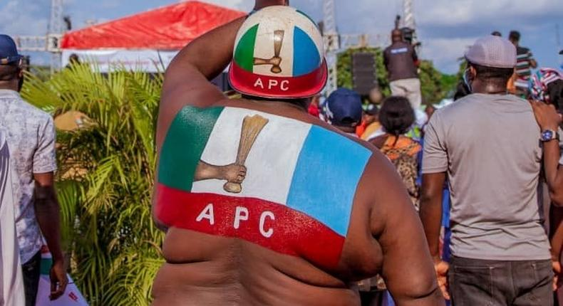 An APC party supporter waves the party's flag at an election campaign rally in Edo State [Twitter/@PastorIzeIyamu]