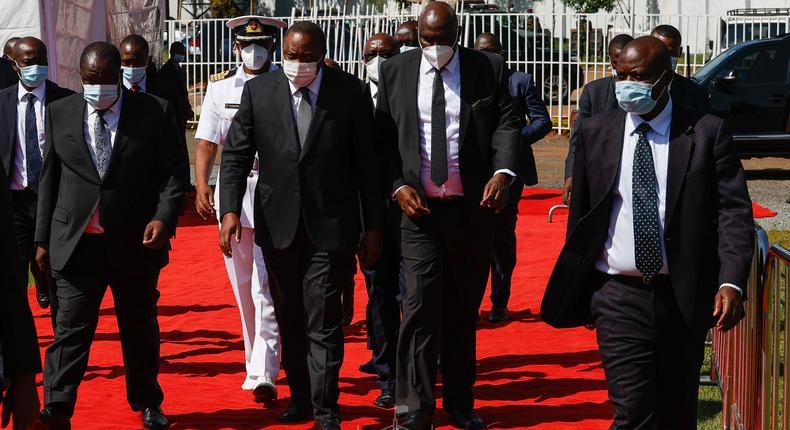 Uhuru arrives at Gusii Stadium for Simeon Nyachae's funeral