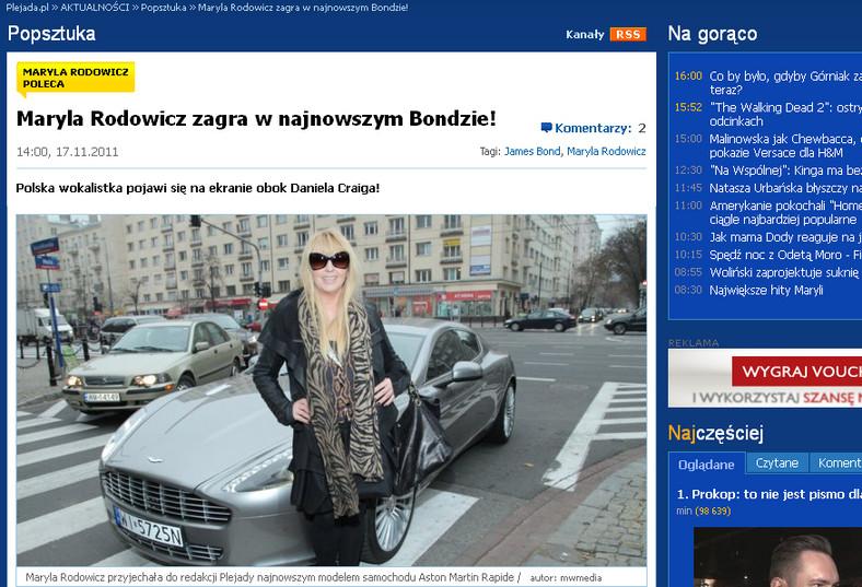Rodowicz zagra w Bondzie/źródło plejada.pl